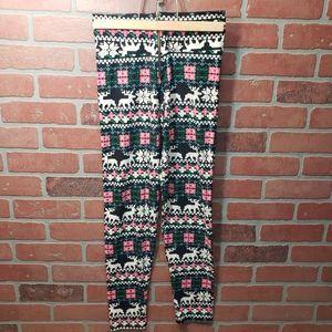 Reindeer Print Christmas Zip Up Leggings